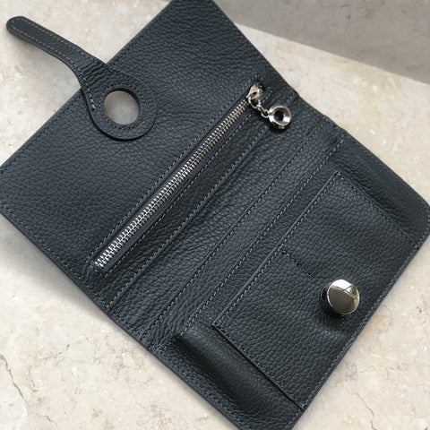 Genuine Italian leather travel wallet or purse with multi compartments in black - open view