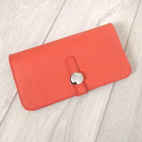 Genuine Italian leather travel wallet or purse with multi compartments in bright orange