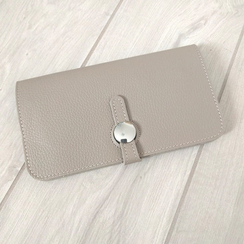 Genuine Italian leather travel wallet or purse with multi compartments in beige