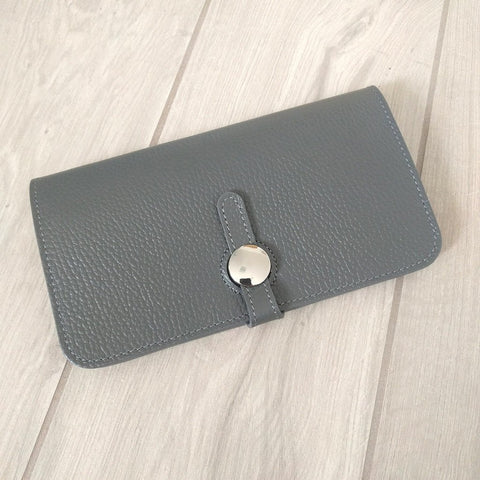 Genuine Italian leather travel wallet or purse with multi compartments in grey