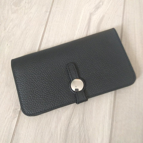 Genuine Italian leather travel wallet or purse with multi compartments in black