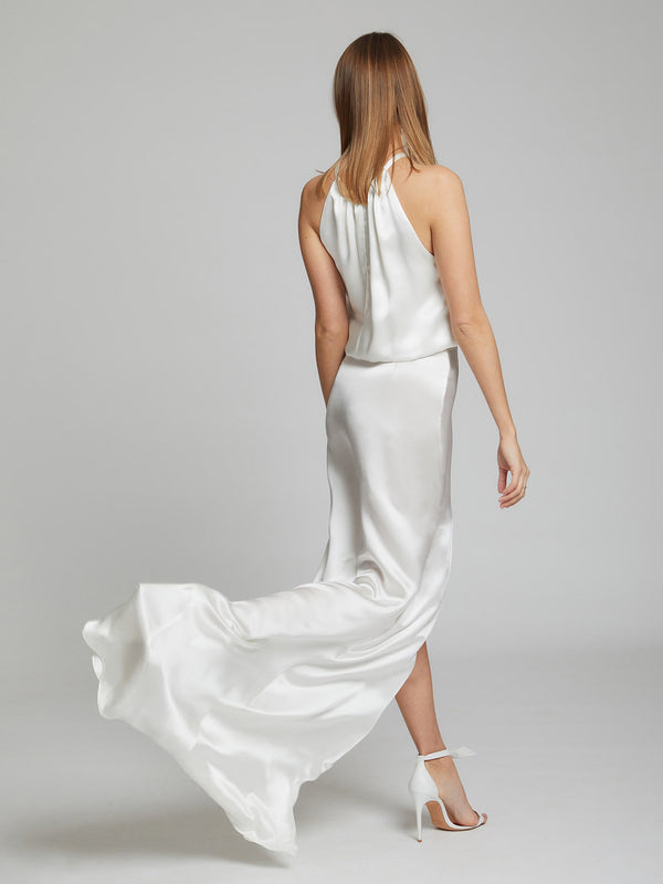 Blair white silk dress