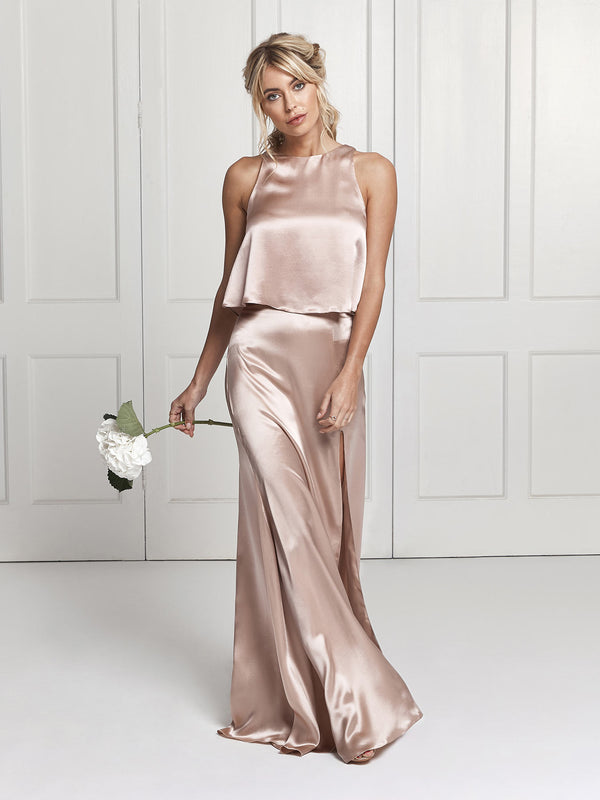 The Lena two piece skirt & top bridesmaid dress in blush pink
