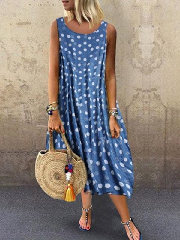 Cotton Sleeveless Round Neck Dress