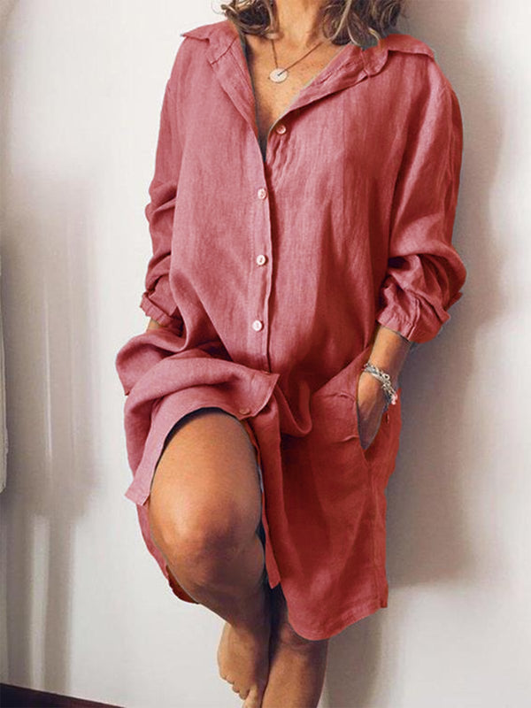 Casual Long Sleeve Solid Shirt Dresses