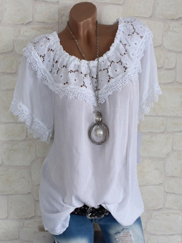 Short Sleeve Crocheted Solid Casual Blouse