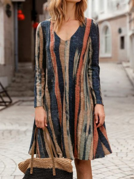 V Neck Striped Vintage Long Sleeve MIdi Dress