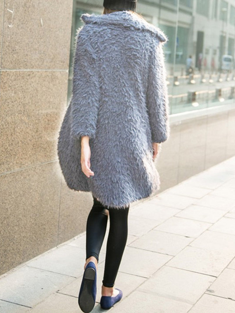Fluffy H-line Shawl Collar Long Sleeve Casual Coat