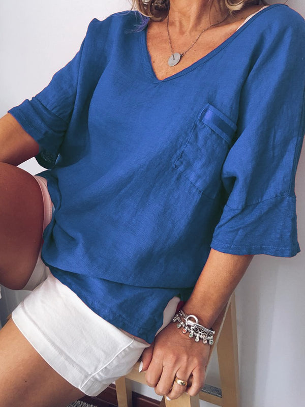 Women Casual Pockets Half Sleeve V Neck Shirts
