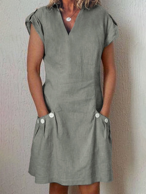 Shirt Collar V Neck Shift Linen Midi Dresses