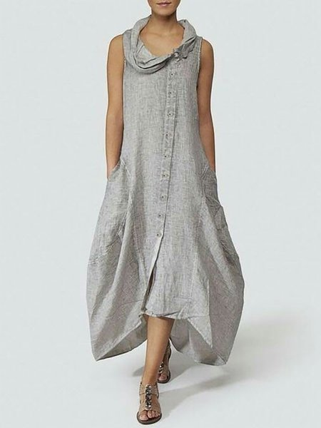 Summer Cowl Neck Plus Size Maxi Dress Buttoned Pockets Solid Cocoon Sleeveless