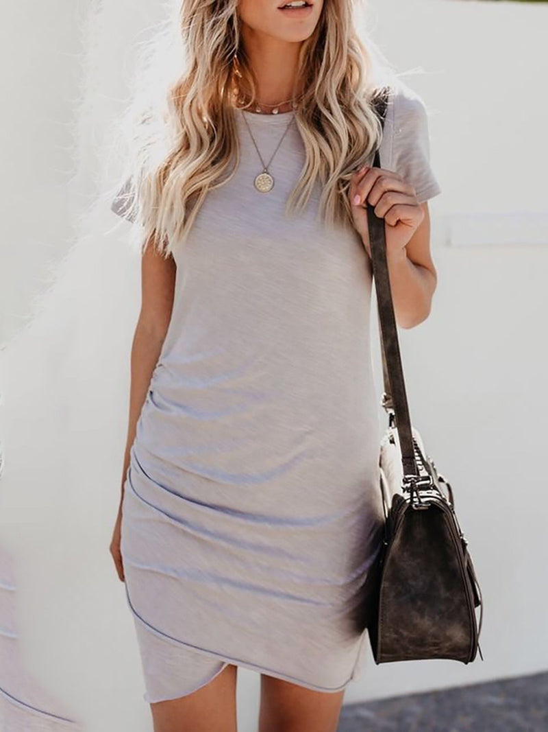 Casual Crew Neck Short Sleeve Sheath Asymmetric Solid Mini Dress
