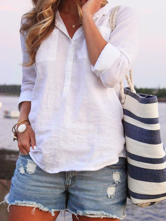 Buttoned Casual Long Sleeve Shirts & Tops