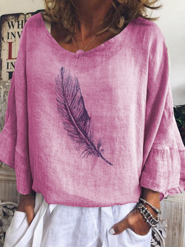 Casual Feather Printed 3/4 Sleeve Long Sleeve Blouse