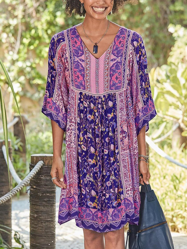 Floral Boho Dresses Half Sleeve Casual Cotton-Blend V Neck Dresses