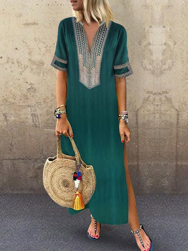 V neck Shift Women Daily Half Sleeve Slit Summer Maxi Dress