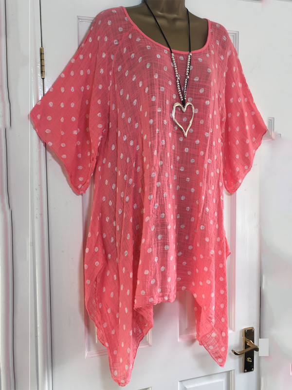 Short Sleeve Printed Polka Dots Blouse