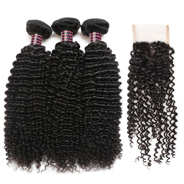 Easy Hair Malaysian Curly Wave 3 Bundles With Lace Closure Virgin Human Hair - Easy Hair