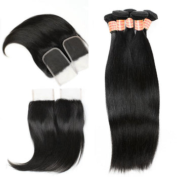 Indian Straight Hair 4 Bundles with Lace Closure - ExcellentVirginHair