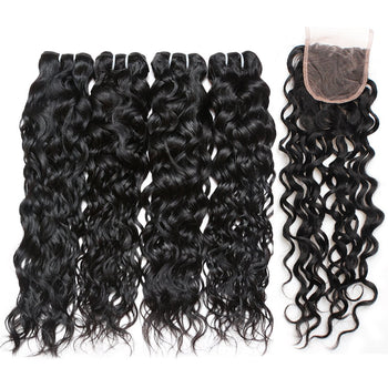 Indian Water Wave Human Hair 4 Bundles with Lace Closure - ExcellentVirginHair