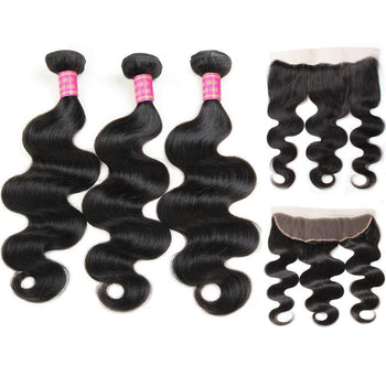 Brazilian Body Wave Virgin Hair 3 Bundles with 13x4 Lace Frontal - Urfirst Hair