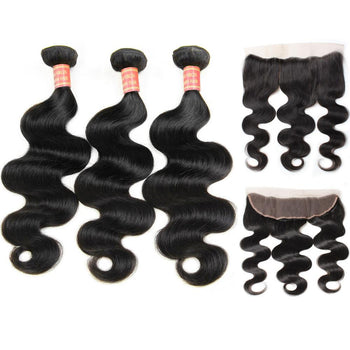 Indian Body Wave Virgin Hair 3 Bundles with 13x4 Lace Frontal Closure - ExcellentVirginHair