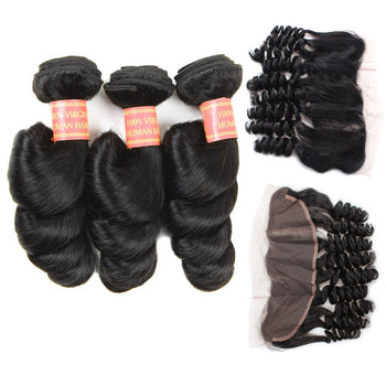 Brazilian Loose Wave Virgin Hair 3 Bundles with 13x4 Lace Frontal - Urfirst Hair