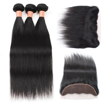 Brazilian Straight Virgin Hair 3 Bundles with 13x4 Lace Frontal - ExcellentVirginHair