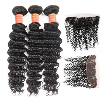 Brazilian Deep Wave Virgin Hair 3 Bundles with 13x4 Lace Frontal Closure - Urfirst Hair
