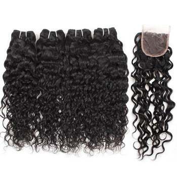 Ama Indian Water Wave Hair 4 Bundles with Lace Closure - ExcellentVirginHair