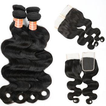 Peruvian Body Wave Hair 4 Bundles with Lace Closure - ExcellentVirginHair