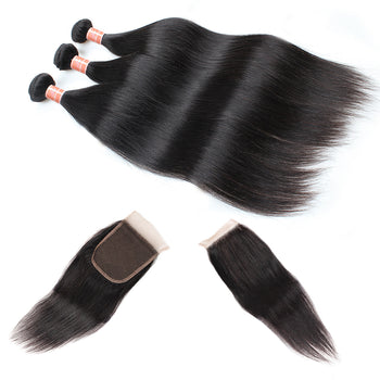 Ama Peruvian Straight Hair 4 Bundles with Lace Closure - ExcellentVirginHair