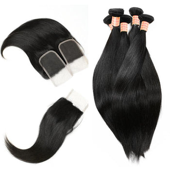 Malaysian Straight Hair 4 Bundles with Lace Closure - Urfirst Hair