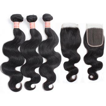 Ama Indian Body Wave Hair 4 Bundles with Lace Closure - ExcellentVirginHair