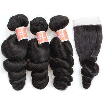 Ama Indian Loose Wave Hair 4 Bundles with Lace Closure - ExcellentVirginHair