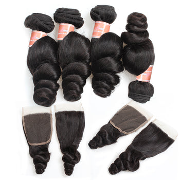 Ama Malaysian Loose Wave Hair 4 Bundles with Lace Closure - ExcellentVirginHair