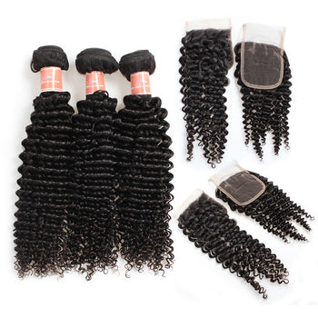 Ama Indian Kinky Curly Hair 4 Bundles with Lace Closure - ExcellentVirginHair