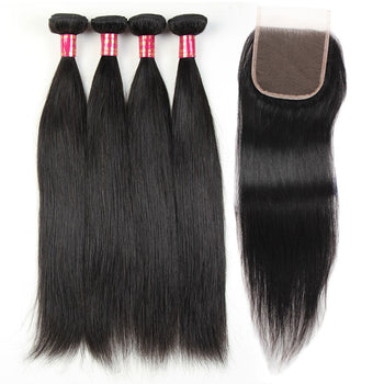 Sweetie Peruvian Straight Hair 4 Bundles With Lace Closure Peruvian Remy Straight Hair