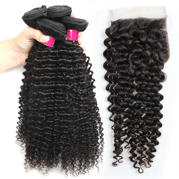 Sweetie Peruvian Kinky Curly Hair 4 Bundles With Lace Closure