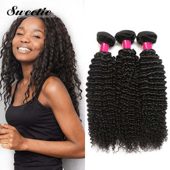 Sweetie Peruvian Human Kinky Curly Hair 3 Bundles With 4x4 Lace Closure
