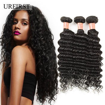 "Urfirst Brazilian Virgin Human Hair Deep Wave 3 Bundles Hair Extension 8A Grade 8""-28"" Natural Black"