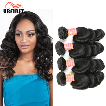 "Urfirst Indian Virgin Human Hair Loose Wave 4 Bundles 8""-28"" Natural Black"
