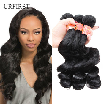 "Urfirst 8A Brazilian Virgin Hair Loose Wave 3 Bundles 8""-28"" Natural Black Hair Extensions"