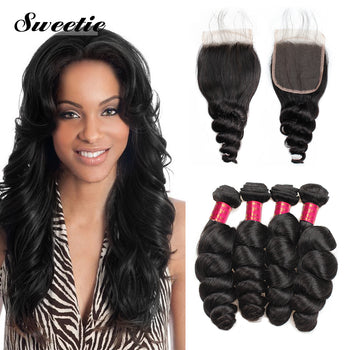 Indian Loose Wave Hair 4 Bundles With Lace Closure