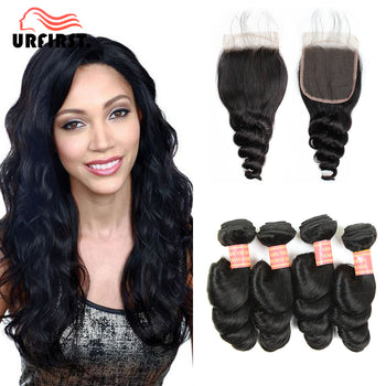 Urfirst Malaysian Virgin Human Hair Loose Wave 4 Bundles With 4*4 Lace Closure