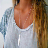 Women's long feather pendant necklace-99Accessory-99Accessory