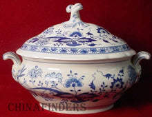 HUTSCHENREUTHER china BLUE ONION-SCALLOPED-RIM pattern Oval Tureen & Lid