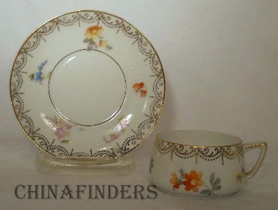 HEINRICH/H & C china HC1237 pattern Demitasse Cup & Saucer - trim wear