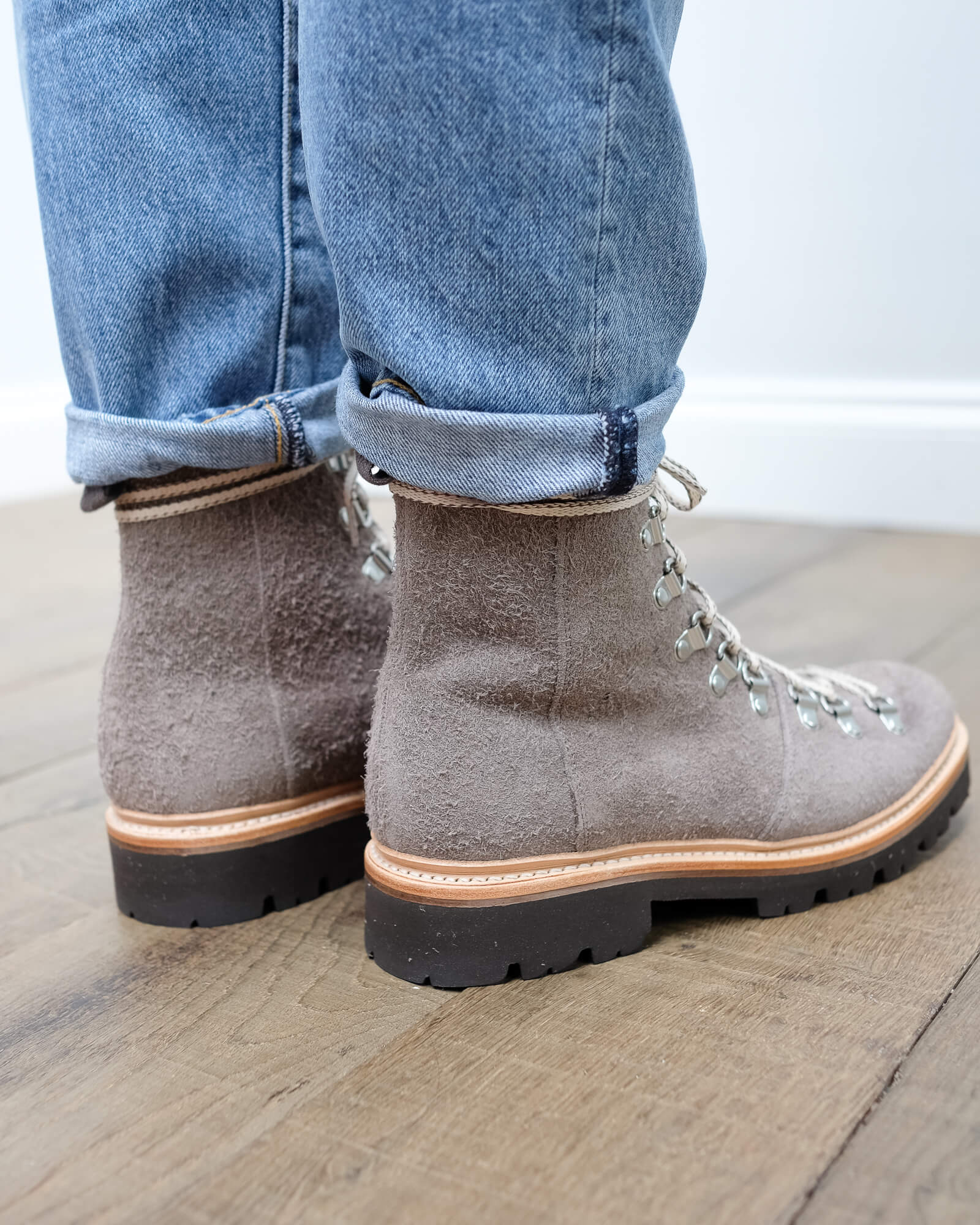 Grenson Nanette vigogna shaggy suede boots in brown