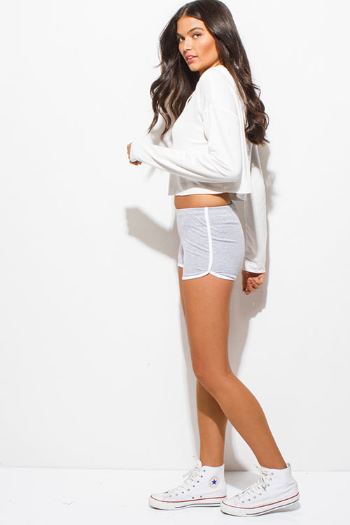 HEATHER GRAY COTTON BLEND ELASTIC WAIST RUNNING LOUNGE SHORTS